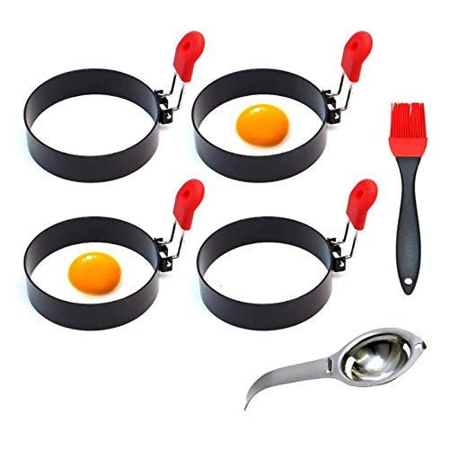 Fransande - Anillos antiadherentes para huevos, para freír o hacer huevos, para hornear el desayuno, Omelette Egg McMuffin Sandwiches Maker