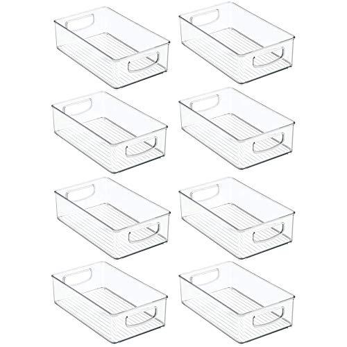 Fauge 8 cubos organizadores de refrigerador apilables para nevera, con asas recortadas, de plástico transparente, para almacenamiento de alimentos