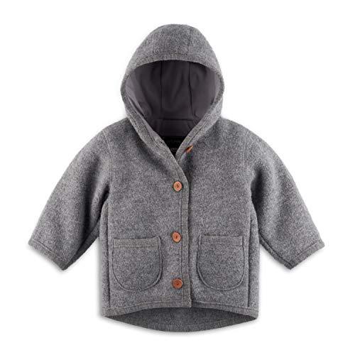 Halfen Walkjacke Baby (Made in Germany) – Bio Wollwalk Jacke für Mädchen und Jungen mit Kapuze, aus 100% Natur Schurwolle, Wolljacke Baby für Jede Jahreszeit, temperaturregulierend, Größe: 74 80
