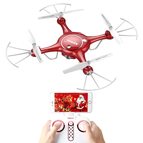 Syma X5UW WiFi FPV 720P HD Camera RC Drones Quadcopter with Flight Plan Route App Control 1-Key Control Headless 360 Flips and Altitude Hold Function Two Battery Included (Red)