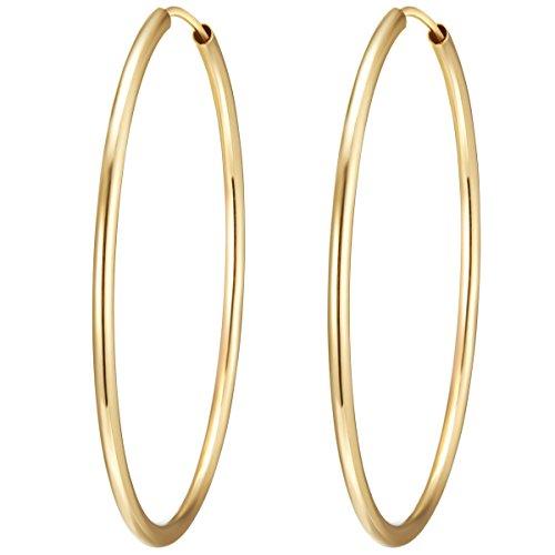 Rafaela Donata Damen-Creolen 925 Sterling Silber 40mm rund gelbvergoldet - Basic Ohrringe für Damen Silberohrcreolen Groß