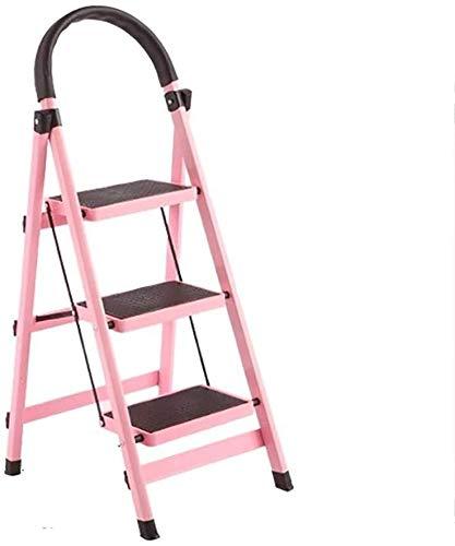 3-step scala pieghevole domestica alluminio Passo Sgabello, conveniente piedi Sgabello, Scala for esterno ed interno, 6 colori (colore, rosso), Rosso (Color : Pink)