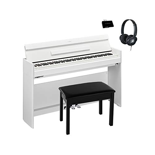 Best Deals! Yamaha YDPS54WH White Walnut, 88-note, weighted action console digital piano With Black ...