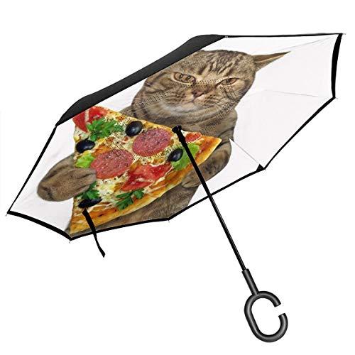 Reverse Umbrella, The Cat Holds A Piece Of Pizza Inverted Umbrella,UV Protection Windproof Umbrella...