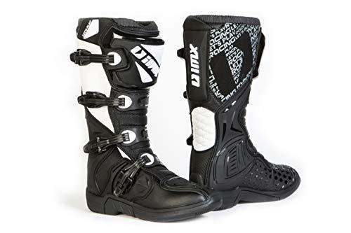 Imx Racing X-Two Stivali da Moto Motocross Enduro Certificazione CE Nero/Bianco Chiusura a Quattro stadi Microfibra per Una Migliore Gestione delle coperture in TPU e TPR della Moto, 45 eu