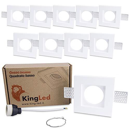KingLed - Portafaretto da Incasso In Gesso Ceramico Quadrato Slim per Faretto Gu10 e Mr16 - Dimensione 100x100x29mm Cod. 1495 (10x Quadrato Slim)