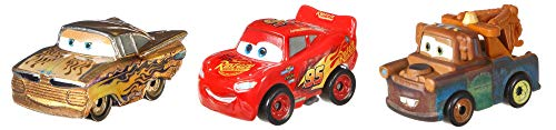 Disney Pixar Cars mini-véhicules Or, 3 petites voitures miniatures, Flash McQueen, Ramone et Martin, jouet pour enfant, GBN74