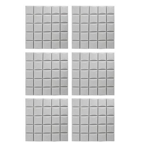 TopinCN 6 pannelli fonoassorbenti in schiuma di cotone a forma di fungo, insonorizzanti, per studi di registrazione, cabine vocali, sale di controllo Grigio
