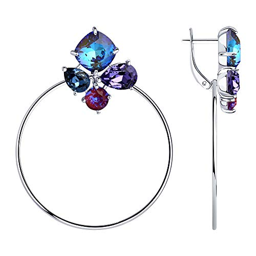 SOKOLOV Jewelry oorbellen dames hangend zilver 925 met Swarovski Crystals blauw I edele zilveren oorbellen 5,2 cm met ring Ø 4,0 cm I Exclusieve designer damessieraad - oorbellen met kristallen
