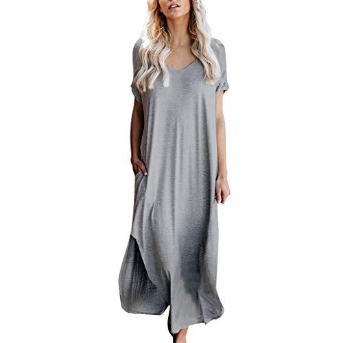 Maxi Kleid Damen Sommerkleider Elegant Strandkleider Kurzarm V-Ausschnitt Split Lang Kleid Damen Bodenlanges Kleid Jersey Tailliertes Maxikleid Sonojie