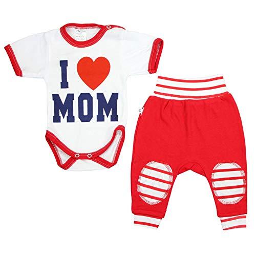TupTam Unisex Baby Bekleidung mit Spruch 2er Set , Farbe: I Love Mom Rot, Größe: 56