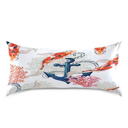 HaJie Funda de almohada de satén con diseño de peces, japonés, 100% poliéster, funda de almohada para cabello y piel, tamaño estándar 50,8 x 101,6 cm, 1 unidad