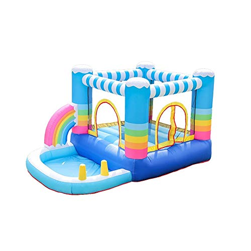 EXCLVEA Inflatable Bouncy Castle Inflatable Castle Indoor And Outdoor Children's Trampoline Slide Rainbow Slide for Courtyard Playground (Color : Blue, Size : 290X200X155cm)