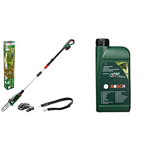 Bosch Akku Hochentaster UniversalChainPole 18 mit 1 Liter Kettensägen-Haftöl (Akku, 18 Volt System, Karton)