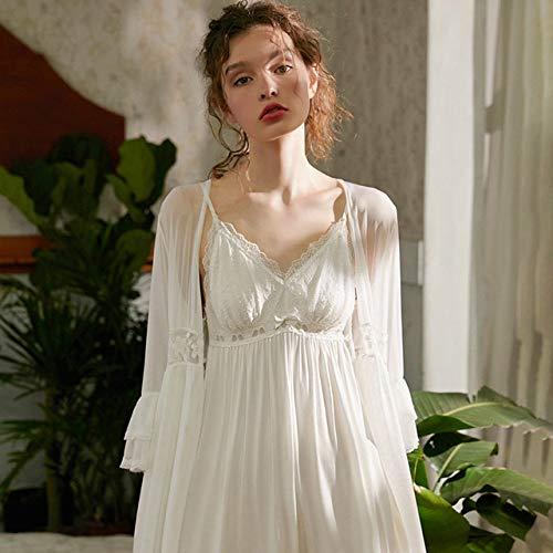 YPDM Bata,Summer Robe Set Mujeres camisón Vestido de Bata de Encaje Blanco Femme Lace Robe & amp;Regalo de Boda romántico Elegante Interior de la túnica Nupcial, Blanco, L