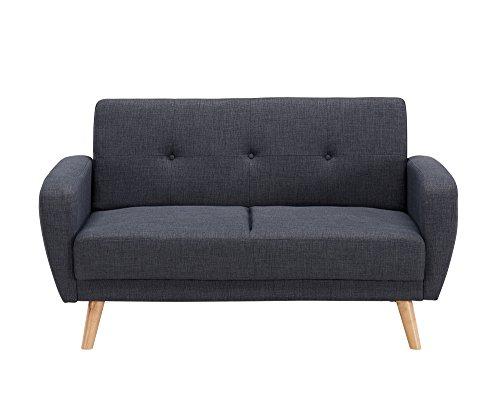 Mobilier Deco Schlafsofa, ausziehbar, skandinavisch, 2-Sitzer, Grau / Anthrazit