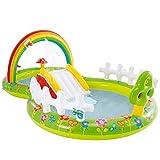 Intex 57154NP - Centro de juegos acuático hinchable INTEX, jardín, para niños, con tobogán, medidas 290x180x104 cm, juguetes hinchables de agua, piscina para niños 3 años, 450 litros