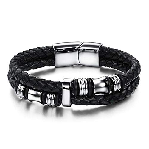 Jewellery Bracelets Bangle For Womens Punk Men Jewelry Braided Leather Bracelet Stainless Steel Magnetic Clasp Trendy Bangle Hiphop Male Wristband Gift-2_22Cm