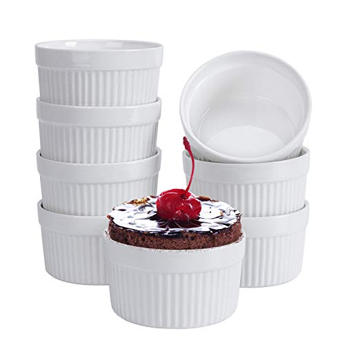 Porcelain Ramekins, Set of 8 (6OZ White) , Souffle Dishes, Oven Safe Round Ceramic Bowls Serving For Creme Brulee, Custard, Lava Cakes, Pudding, Flan, Mini Desserts, Jam and Ice Cream, Ramekins For Baking