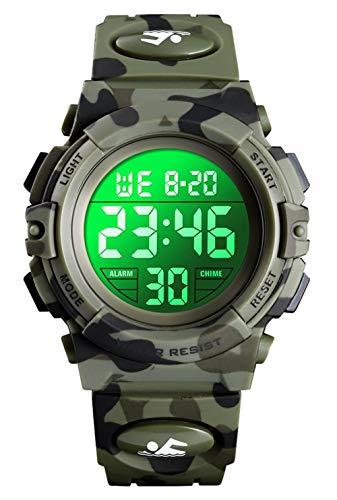 Digitaluhr für Jungen, wasserdichte Sport Uhr Kinder Uhren mit Wecker/Stoppuhr/12-24H, Elektronische Kinderuhren LED Armbanduhr für Junior Teenager Junge - Tarnen