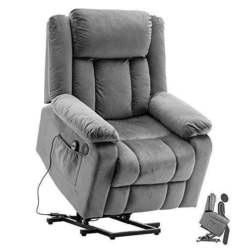 U`King Fernsehsessel Aufstehhilfe Elektrisch Massagesessel Fernbedienung Flanell Relaxsessel Verstellbar Wärmefunktion TV Sessel mit USB Buchsen -Grau