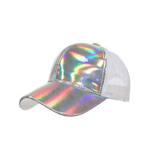 Baseballmütze Laser Light Net Meshcap Fashion Baseball Cap Sun Hat Cotton for Man Women Hat Silver