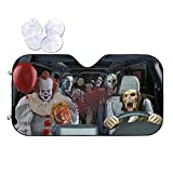 DIBASS Horror Movie Character Car Sunshades,Universal Auto Front Windshield Sun Shade,Uv Heat Reflector Material and Sun Prevention to Keep Your Vehicle Cool