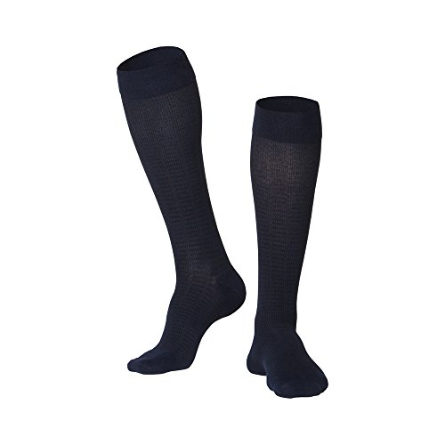 TOUCH Compression Socks for Men, 15-20 mmHg, Checkered, Cotton, 1 Pair, Navy, X-Large