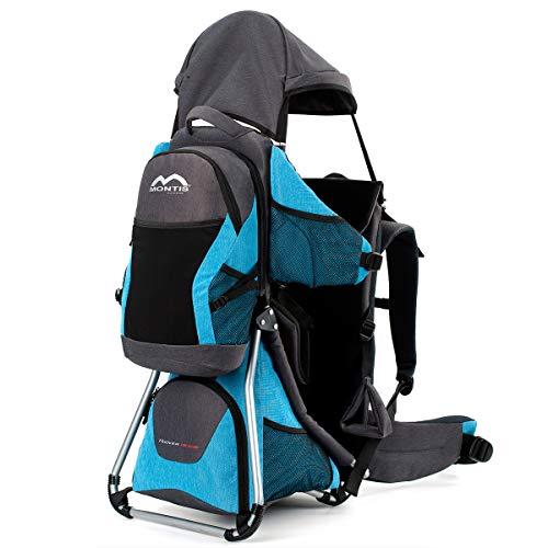 Montis Hoover Nexus Kraxe Kindertrage bis 25kg Kinder-Gewicht mit vielen Extras - Premiummodell - geringes Eigengewicht, passend für beide Elternteile, besserer Komfort mit Wirbelstütze, BLAU