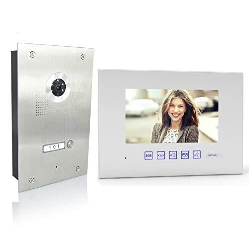 MATHFEL 4 Draht Video Türsprechanlage Gegensprechanlage 1x7'' Monitor, Türstation für 1 Familienhaus, 170° Weitwinkel-Kamera