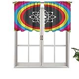 Hiiiman Cenefa de cortina con aislamiento térmico para barra, modelo átomo con círculos coloridos, molécula, química, biología, física, juego de 2, 137 x 61 cm para dormitorio, baño y cocina