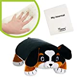 "MEMORY MATES Bernie The Bernese Dog Memory Foam Pillow Plush with Kid's Diary That Stores in Belly Pocket, 15"" Stuffed Animal, 6' Journal"