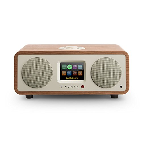NUMAN One 2.1 • Radio por Internet • Sintonizador Dab/Dab+ y FM • Spotify Connect • Pantalla TFT • WiFi/LAN • Bluetooth • AUX • 2 Altavoces de Banda Ancha • Subwoofer • 2 ecualizadores • Marrón