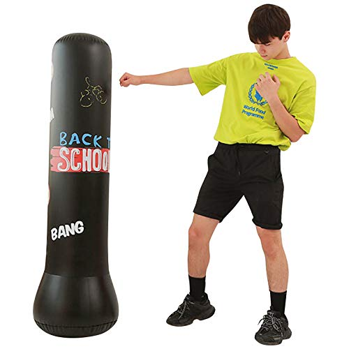 Boxsack Standboxsack für Kinder, Freistehende Punchingsäcke Boxen Boxsäcke 160cm Aufblasbarer Kinder Boxsäule Zielsack Boxsack für Sofortiges Zurückprallen Boxtraining Sandsack Erwachsene Schwarz