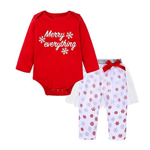 JiaMeng 0-24 Monate Kleinkind Weihnachts Outfit Cartoon Tier Drucken Romper Tops Einfarbig Netto Garn Lange Hosen und Hut Weihnachten Outfits
