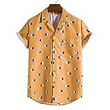 Ocuhiger Camisas Casuales De Manga Corta con Estampado Digital para Hombres Camisa De Vacaciones En La Playa Hawaiana Camisa Ajustada Estándar con Botones Y Solapa Blusa Amarilla