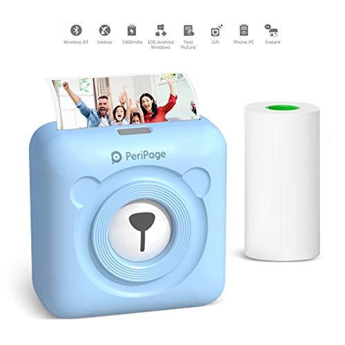 Mini Printer Portable Photo Printer for Phone Picture Thermal Printer Pocket Label Printer for Smartphone Instant Printer Peripage Receipt Printer Bluetooth Wireless Sticker Printer Machine (Blue)
