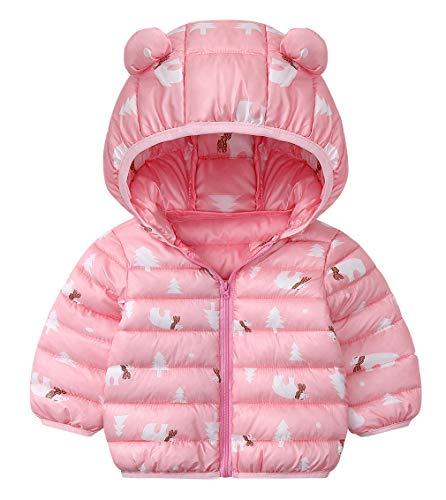 DEMU winterjas baby berenoren capuchon jas gewatteerde mantel sneeuwpakken capuchon mantel 90 roze