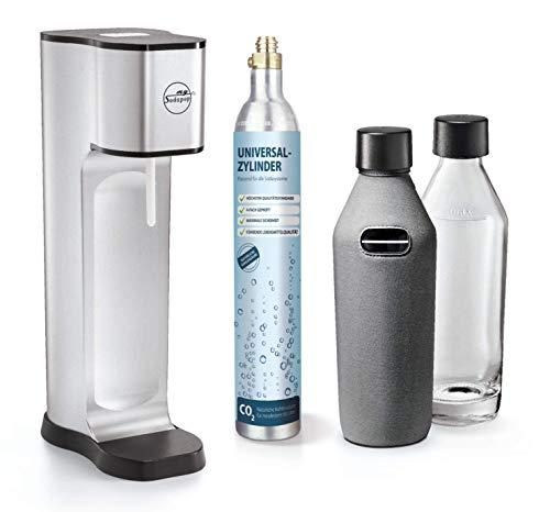 mySodapop Joy Prestige metal silver inklusive 2 Glaskaraffen 2 Neopren Bottle-Shirts und 1 CO2-Zylinder für 60L Sprudelwasser Soda Wasseraufbereiter Trinkwassersprudler