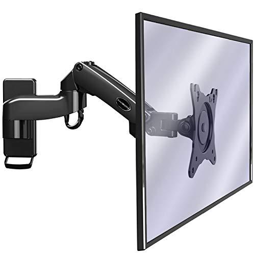 Invision Soporte Monitor Pared de PC y TV, para Pantallas 17-27', Ergonómico Soporte de un Solo Brazo Altura Ajustable con Inclinación, Giratoria y Rotar, VESA 75x75mm y 100x100mm, Peso 2-7kg [MX250]