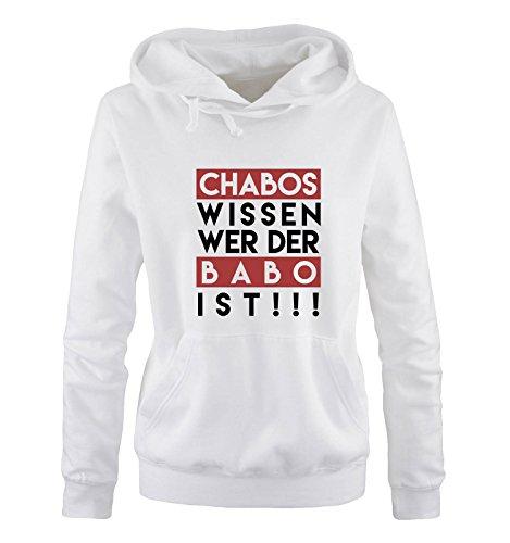 Comedy Shirts - Chabos wissen wer der BABO ist! - Damen Hoodie - Weiss/Schwarz-Rot Gr. M