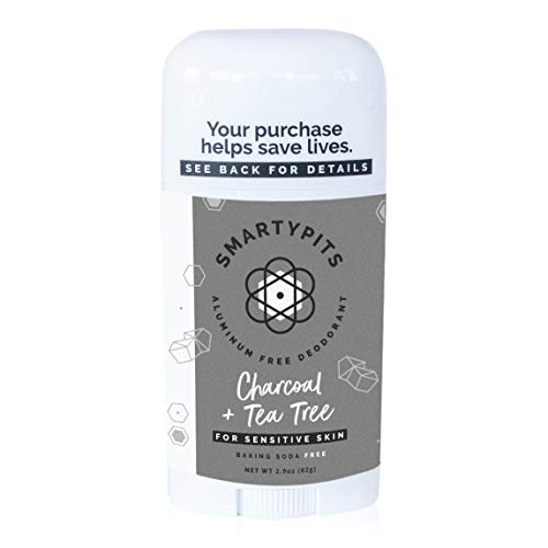 SmartyPits – Natural/Aluminum-Free Deodorant for Sensitive Skin (baking soda free) Paraben Free, Phthalate Free, PROPYLENE GLYCOL FREE, Not Tested on Animals | 2.9oz | (Charcoal + Tea Tree)
