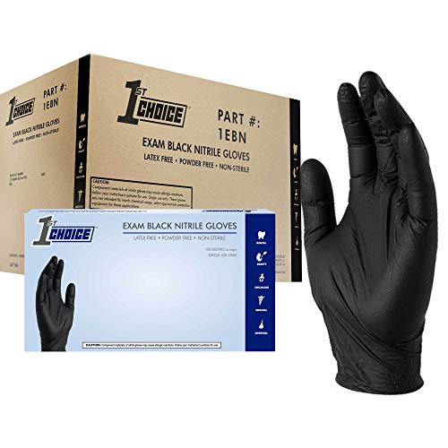1st Choice Black Nitrile Exam Gloves, Case of 1000, 3 Mil, Size Small, Latex Free, Powder Free, Textured, Disposable, Non-Sterile, Food-Safe, 1EBNS