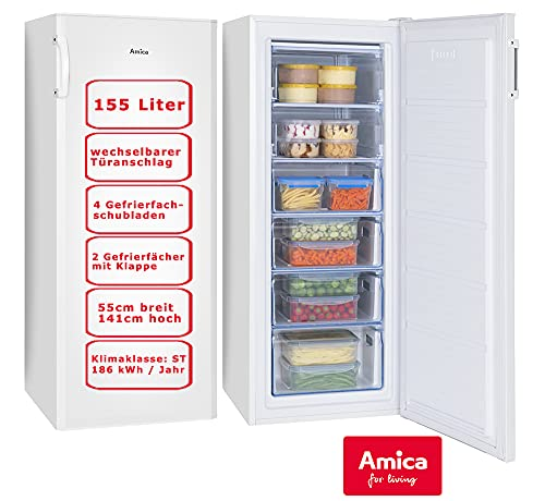 Amica GS 324 100 W Gefrierschrank 155 l, Weiß, A++