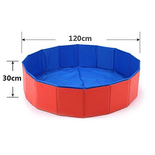 Cutogain zusammenklappbare Badepool für Haustiere. Faltbar, tragbar, ideal für Reisen. Badewanne für Welpen, Katzen und Hunde, rot, 120cm*30cm