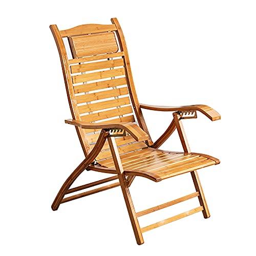 LIYANJJ Sillas Zero Gravity Silla Plegable de bambú antigravedad Ajustable para salón Silla de Patio para Exteriores, Camping, Patio, césped