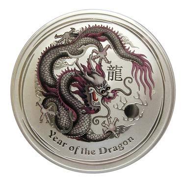 Lunar Drache 2012 lilaweiss farbig coloriert 1 Unze Silber Münze Silbermünze Australien 1 oz silber in Münzkapsel