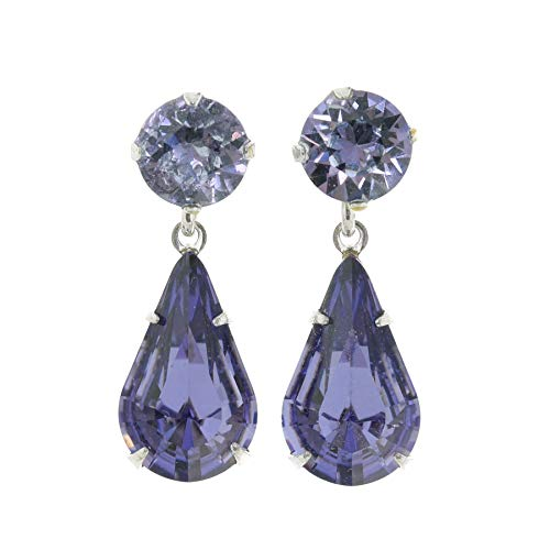 pewterhooter women's 925 Sterling silver stud earrings made with sparkling Tanzanite teardrop crystal from Swarovski. Gift box. Made in the UK. Hypoallergenic & Nickle Free for Sensitive Ears.