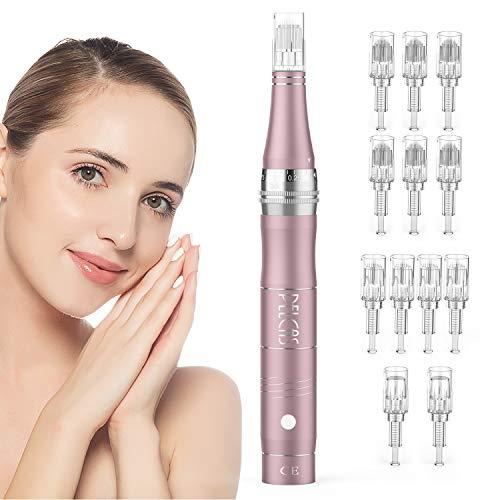 PELCAS Wiederaufladbare Auto Derma Micro Needle Roller Electric Pen Anti Aging Skin Device mit 3 Geschwindigkeitsstufen inkl. 12 köpfe Falten Stretch Marks Akne Narbe...