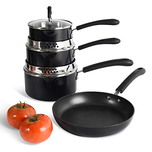 ProCook Gourmet Non-Stick - Induction Cookware Set - 4 Piece Pan Set with Strain & Pour Feature - Suitable for Standard and Induction Hobs